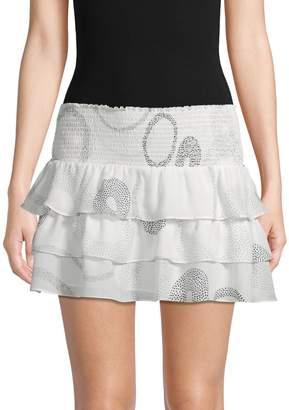 Ramy Brook Printed Ruffle Silk Mini Skirt