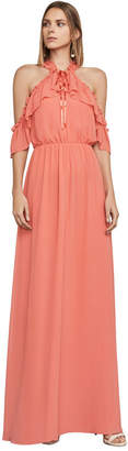 BCBGMAXAZRIA Tracie Cold-Shoulder Halter Dress