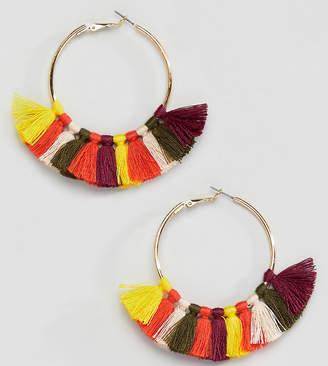 Reclaimed Vintage inspired multi color tassel hoop earrings