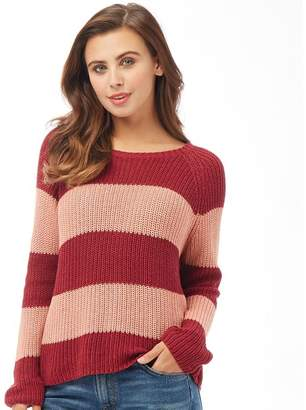 Only Womens Champagne Stripe Pullover Rumba Red/Rose Dawn