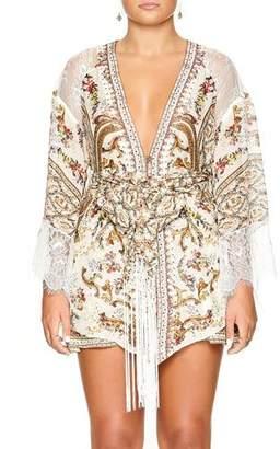 Camilla Plunging Tie-Front Short Kimono w/ Lace