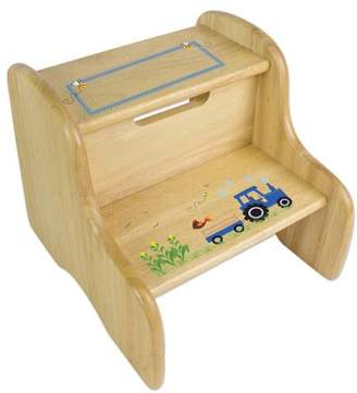 My Bambino Personalized Blue Tractor Wooden Two Step Stool