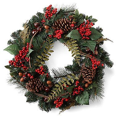 """JCPenney 24"""" Pine Christmas Wreath with Berries"""