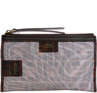 Fendi Freedom Small Tech Mesh & Leather Pouch
