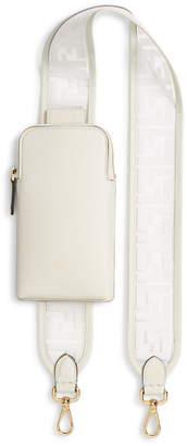 Fendi Logo Strap Leather Phone Case