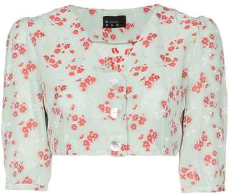 0eb337f2 N. Duo Hamptons floral print button-down crop top