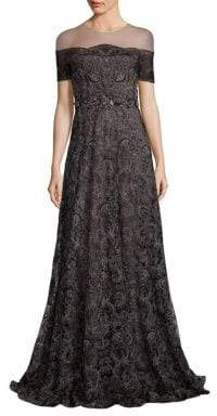 Marchesa Illusion Off-the-Shoulder Embroidered Gown
