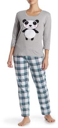 Couture PJ Panda & Plaid Cuddly Critter 2-Piece Pajama Set