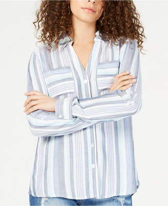 INC International Concepts I.N.C. Plus Size Striped Button-Up Shirt, Created for Macy's