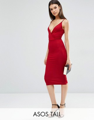 ASOS Tall ASOS TALL Strappy Back Wrap Front Midi Bodycon Dress $28 thestylecure.com