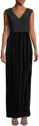 Adrianna Papell V-Neck Velvet Skirt Column Gown