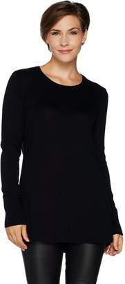 Halston H By H by Scoopneck Pullover Sweater with Swing Hem