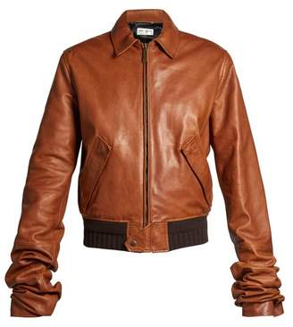 Saint Laurent - Extra Long Sleeves Leather Bomber Jacket - Womens - Mid Brown