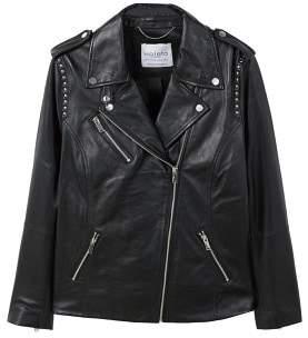 Violeta BY MANGO Studded leather biker jacket