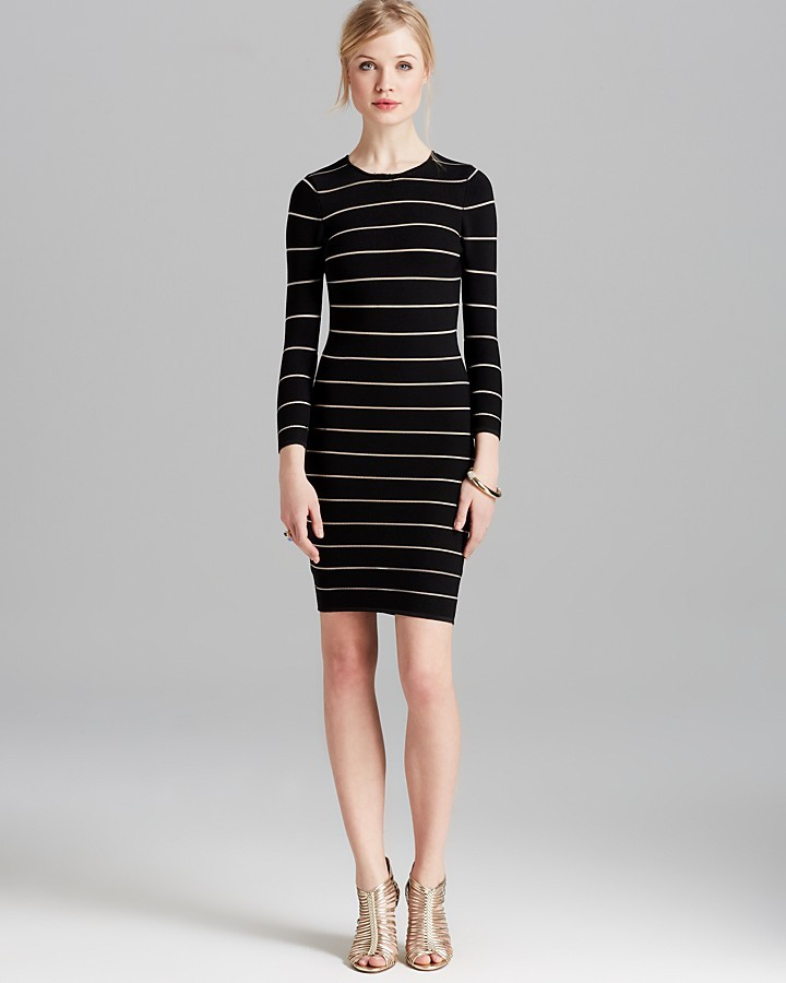 Torn By Ronny Kobo Dress - Coco Bandage Sheer Stripes