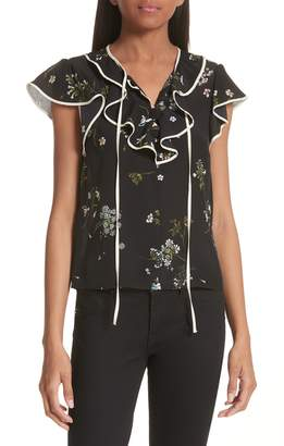 RED Valentino Floral Print Ruffle Neck Silk Blouse