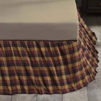 Ashton & Willow Deep Burgundy Red Primitive Bedding Settlement Cotton Split Corners Gathered Plaid Queen Bed Skirt