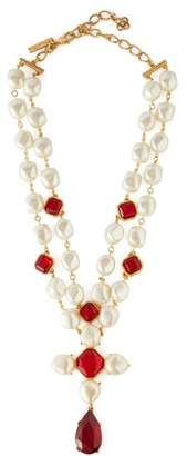 Oscar de la Renta Faux Pearl And Crystal Necklace - Womens - Red