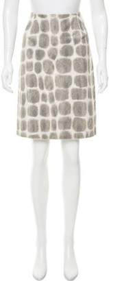Oscar de la Renta Oscar by Faux Fur Sheath Skirt