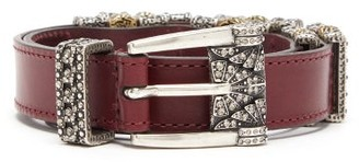 Etro Crystal Buckle Leather Belt - Womens - Black