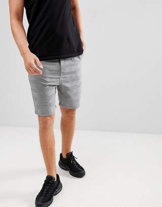 Pull&Bear Tailored Check Shorts In Gray