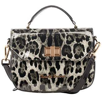 f2d4325dcd8a at Amazon.co.uk · Claudia Canova Womens Patent Effect Leopard Print Satchel  Shoulder Bag