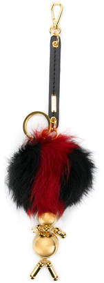 Marni pom pom keychain with gold figure - Black