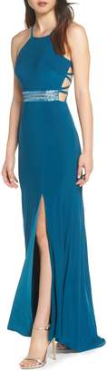 Morgan & Co. Beaded Mesh Halter Gown