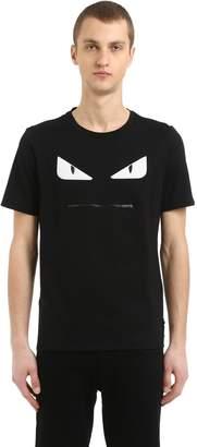 Fendi Monster Zip Mouth Cotton Jersey T-Shirt