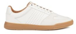 Low-top trainers in suede and nappa leather