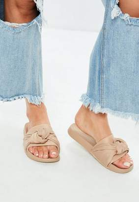 Missguided Nude Knot Front Sliders