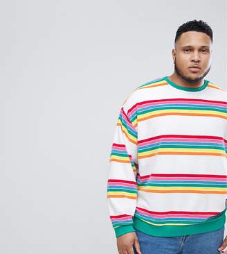 Asos DESIGN PLUS Oversized Sweatshirt In Rainbow Toweling Stripe