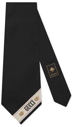 stripe wide cotton silk tie