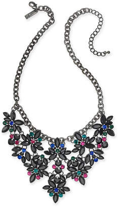 "INC International Concepts I.n.c. Hematite-Tone Floral Crystal Necklace, 18"" + 3"" extender"