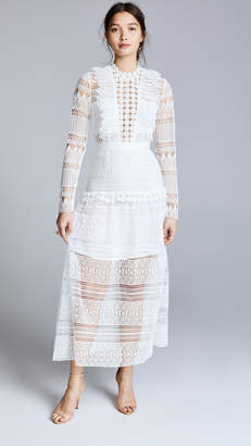Self-Portrait Self Portrait Spiral Lace Paneled Midi Dress