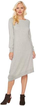 Halston H By H by Asymmetrical Hem Raglan Sleeve Sweater Dress