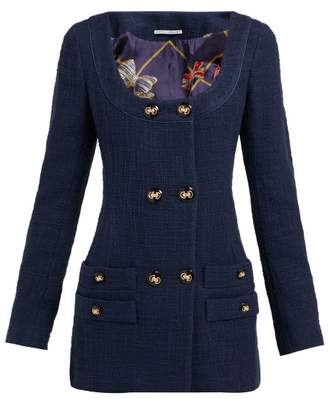 Alessandra Rich Double Breasted Cotton Blend Tweed Mini Dress - Womens - Navy