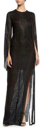 Akris Round-Neck Secret-Curtain Fringe-Bottom Evening Gown