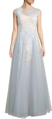 Rickie Freeman For Teri Jon Illusion Short-Sleeve Lace Gown