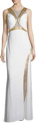 Mignon Sleeveless Gown W/Sequined Trim, Ivory/Gold $478 thestylecure.com