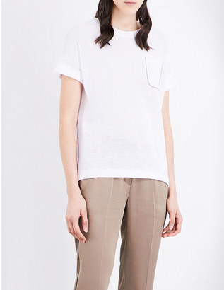 Brunello Cucinelli Metallic-trim knitted cotton jumper $695 thestylecure.com