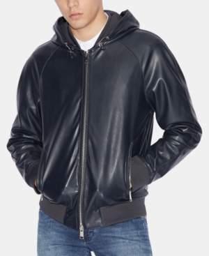 Armani Exchange Men's Faux-Leather Hooded Jacket