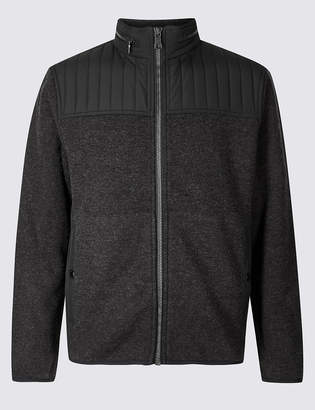 Blue HarbourMarks and Spencer Textured Fleece Jacket with Stormwear