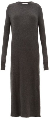 Raey Crew Neck Ribbed Cashmere Dress - Womens - Charcoal