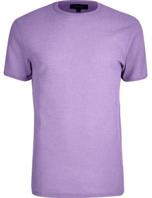 River Island Mens Light purple waffle slim fit T-shirt