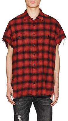 R 13 Men's Buffalo-Checked Cotton Oversized Shirt