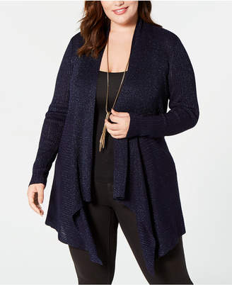 Belldini Plus Size Glitter Draped Open-Front Cardigan