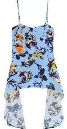 Tibi Draped Floral-Print Silk Crepe De Chine Top