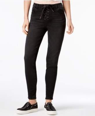 REWIND Juniors' Lace-Up Skinny Jeans