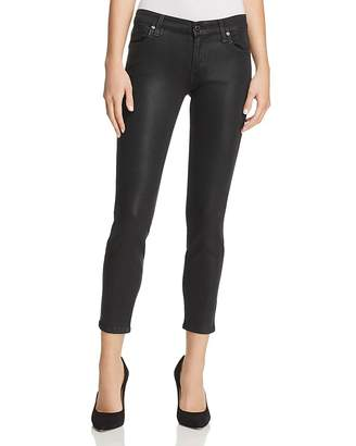 7 For All Mankind Coated Ankle Skinny Jeans in Black Clean $199 thestylecure.com